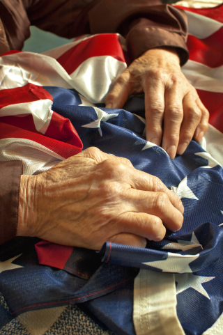 Elderly veteran hands